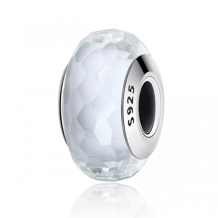 Charm argint 925 cu sticla alba multifatetata - Be Elegant PST0095 0