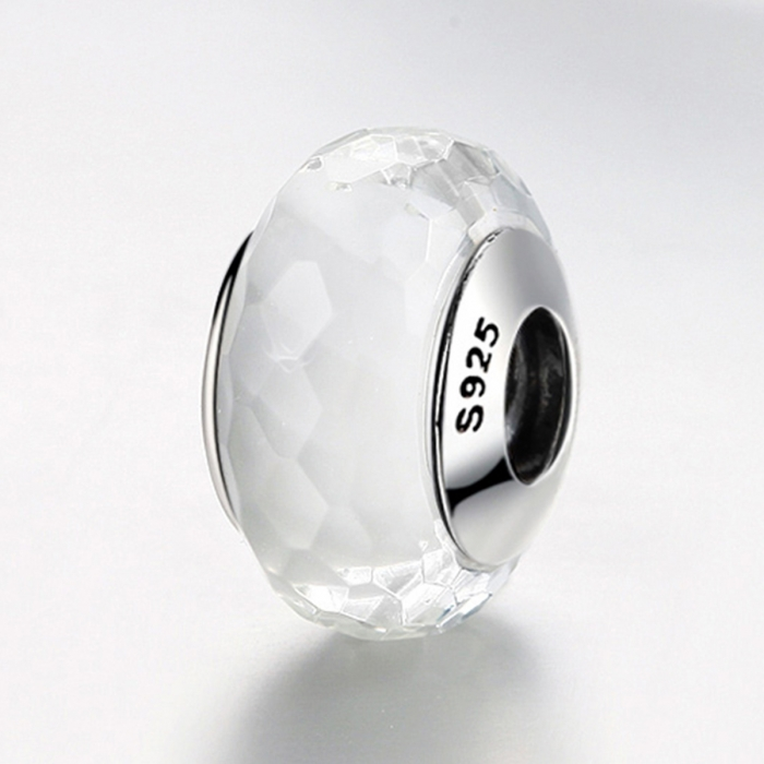 Charm argint 925 cu sticla alba multifatetata - Be Elegant PST0095 3
