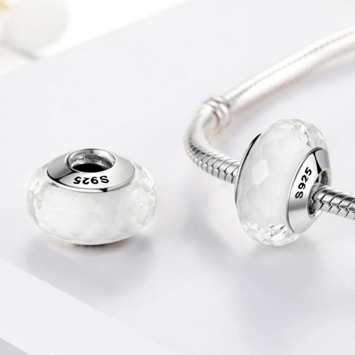 Charm argint 925 cu sticla alba multifatetata - Be Elegant PST0095 1