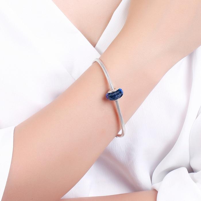 Charm argint 925 cu sticla albastra multifatetata - Be Elegant PST0094 4