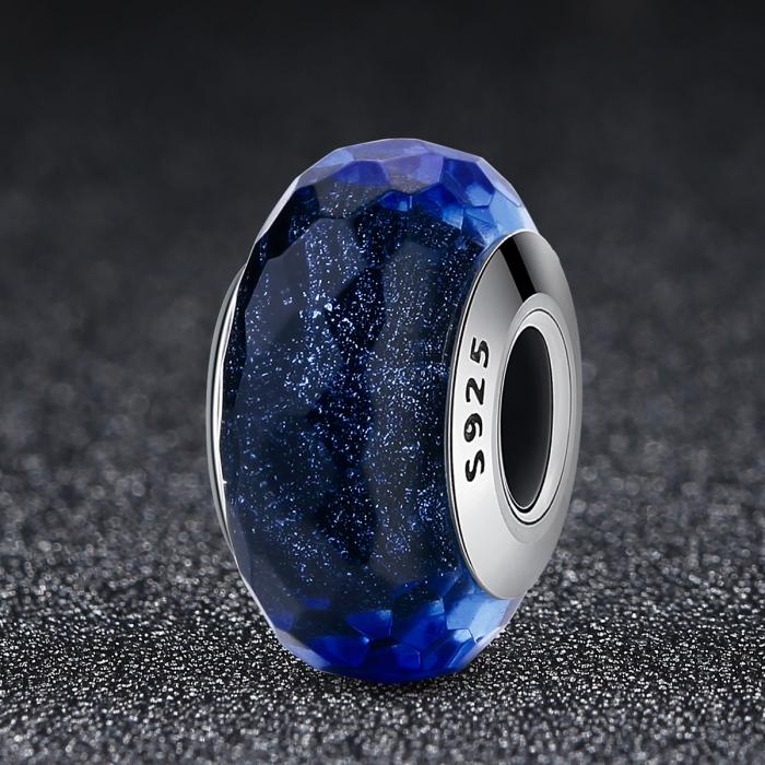 Charm argint 925 cu sticla albastra multifatetata - Be Elegant PST0094 2