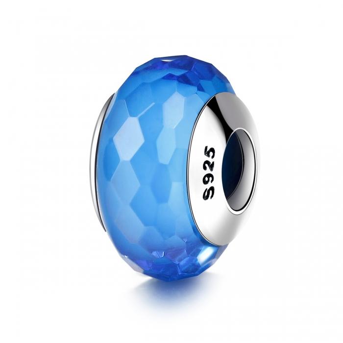 Charm argint 925 cu sticla albastra multifatetata - Be Elegant PST0097 0