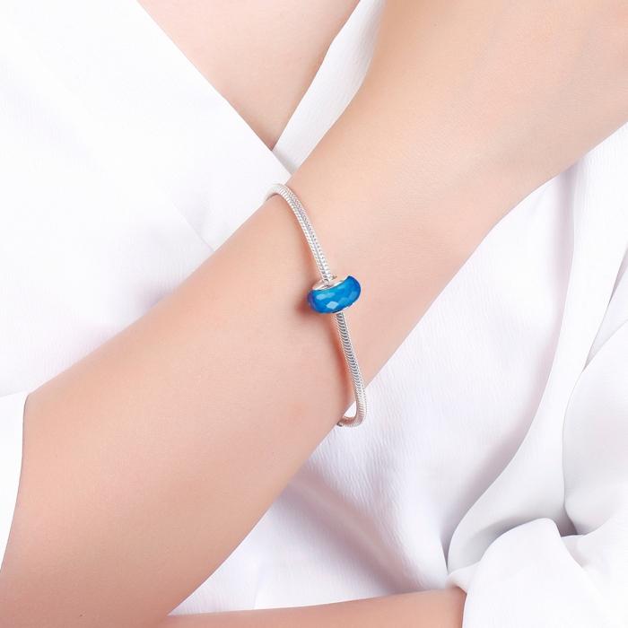Charm argint 925 cu sticla albastra multifatetata - Be Elegant PST0097 4