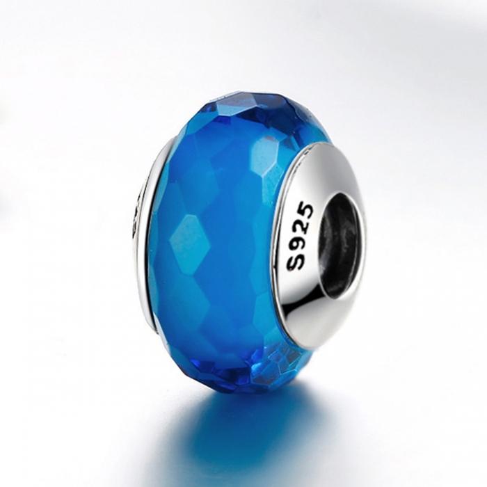Charm argint 925 cu sticla albastra multifatetata - Be Elegant PST0097 3