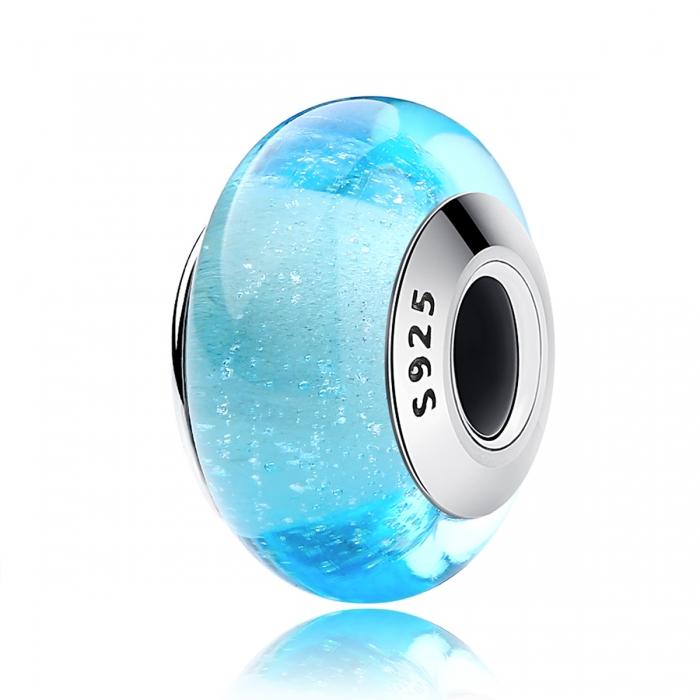 Charm argint 925 cu sticla bleu - Be Elegant PST0067 0