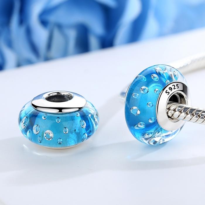 Charm argint 925 cu sticla bleu - Be Elegant PST0072 1