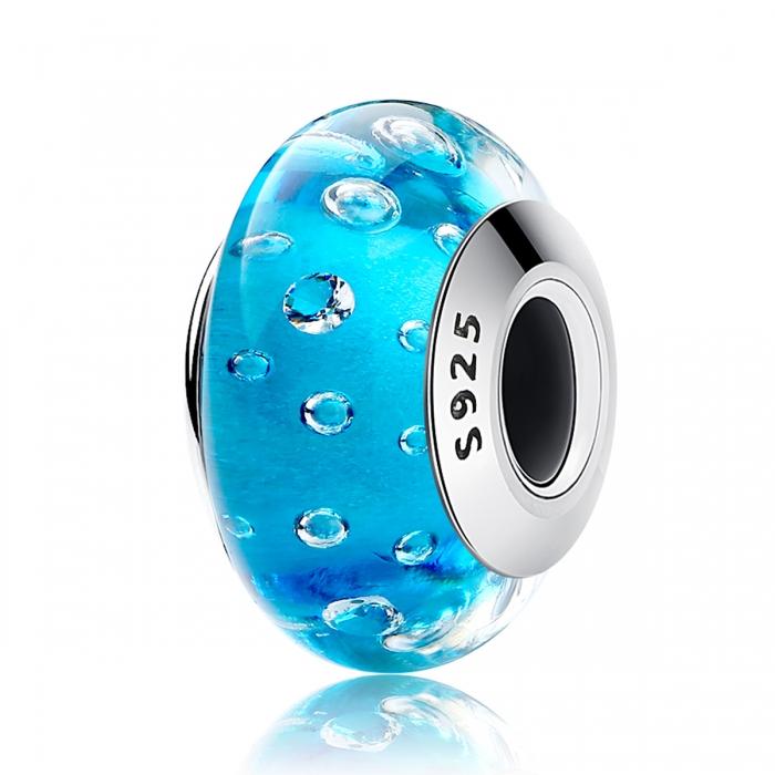 Charm argint 925 cu sticla bleu - Be Elegant PST0072 0
