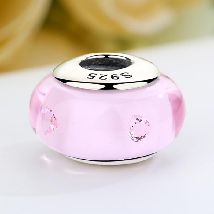 Charm argint 925 cu sticla roz - Be Elegant PST0062 3