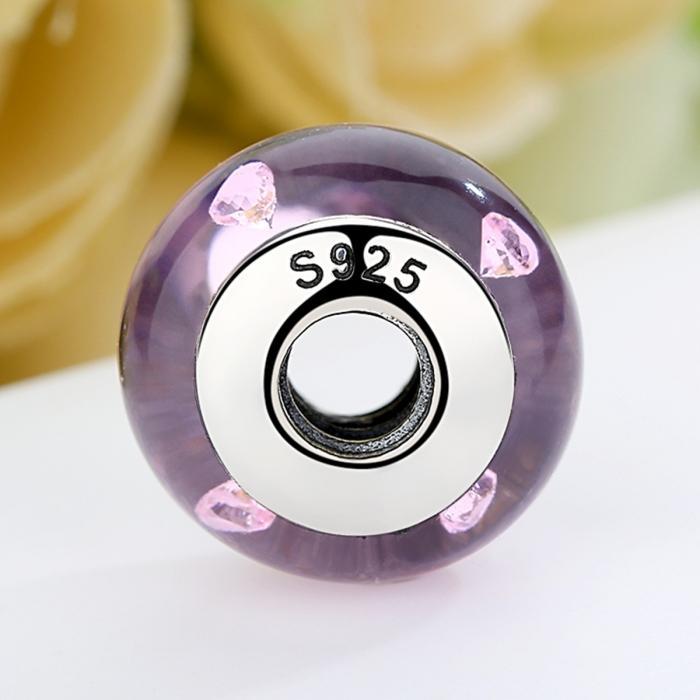Charm argint 925 cu sticla roz - Be Elegant PST0062 4