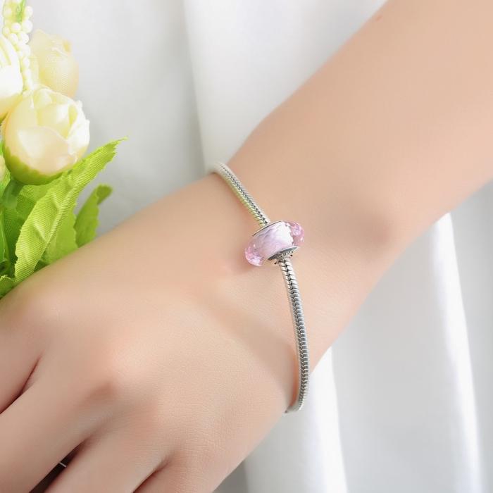 Charm argint 925 cu sticla roz - Be Elegant PST0064 2