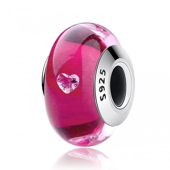 Charm argint 925 cu sticla roz cu inimioare - Be Elegant PST0073 0