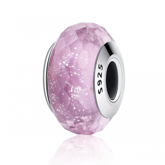Charm argint 925 cu sticla roz multifatetata - Be Elegant PST0093 0
