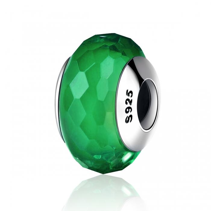 Charm argint 925 cu sticla verde multifatetata - Be Elegant PST0098 0