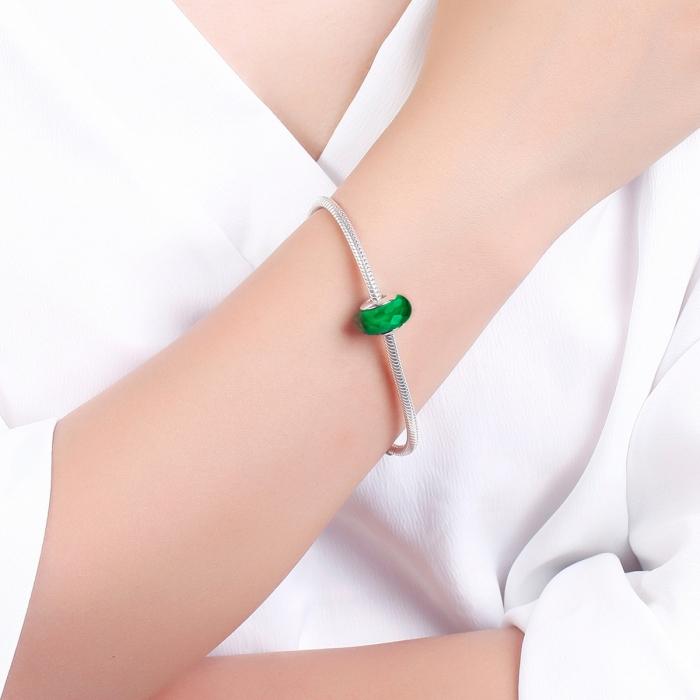 Charm argint 925 cu sticla verde multifatetata - Be Elegant PST0098 4