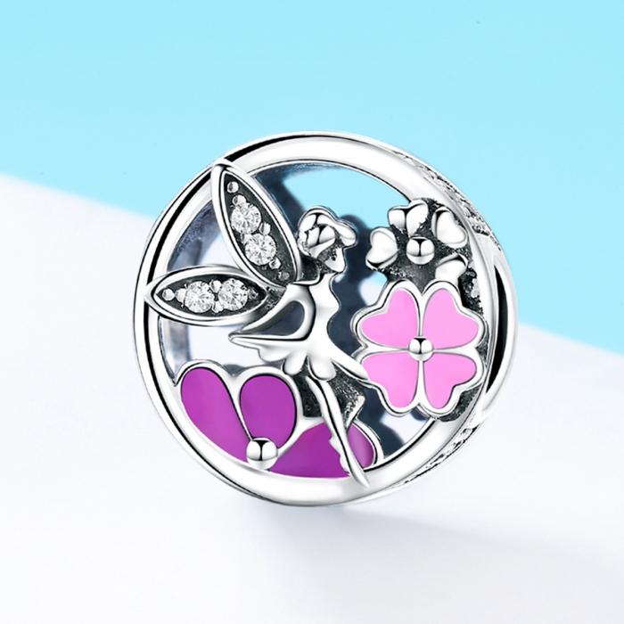 Charm argint 925 cu zana, floricele si zirconii albe - Be Fantastic PST0144 1