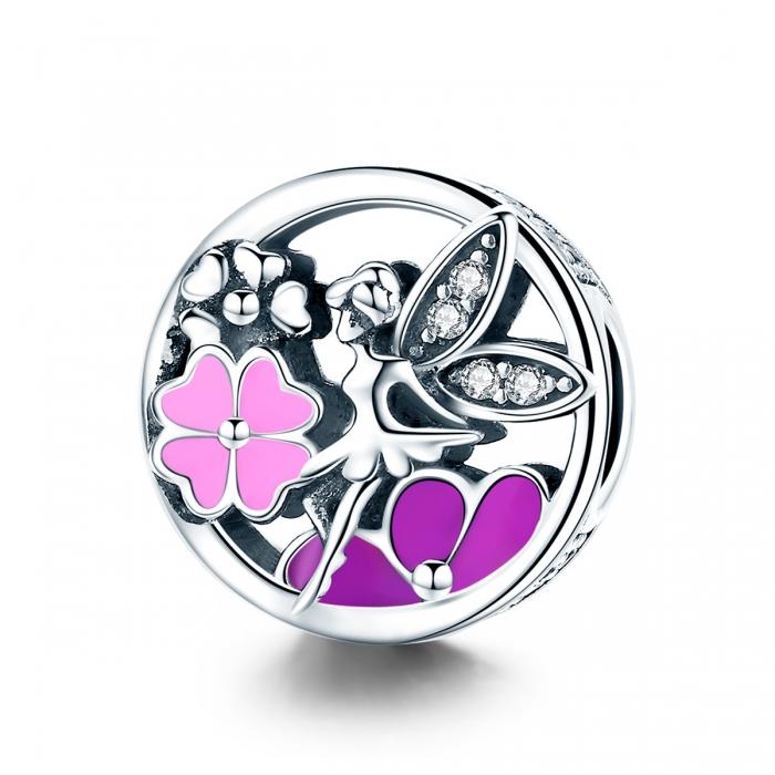 Charm argint 925 cu zana, floricele si zirconii albe - Be Fantastic PST0144 0