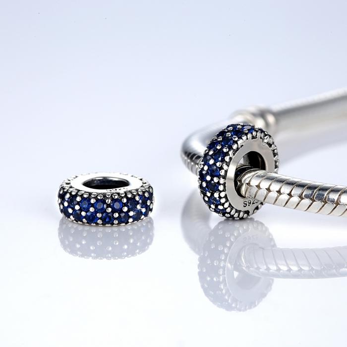 Charm argint 925 cu zirconii albastre - Be Elegant PST0029 1