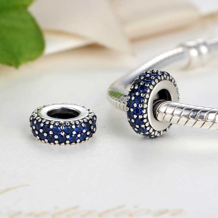 Charm argint 925 cu zirconii albastre - Be Elegant PST0029 3