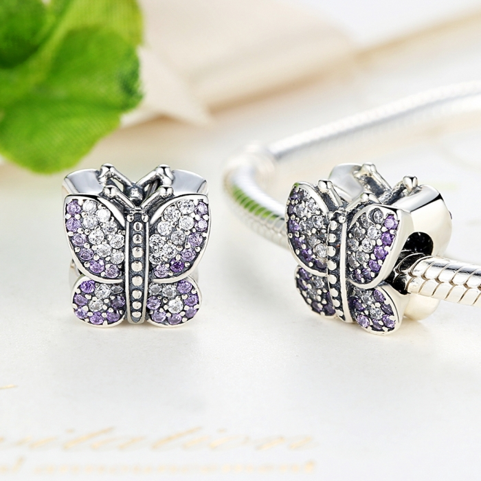 Charm argint 925 fluture cu zirconii albe si mov - Be Nature PST0013 1