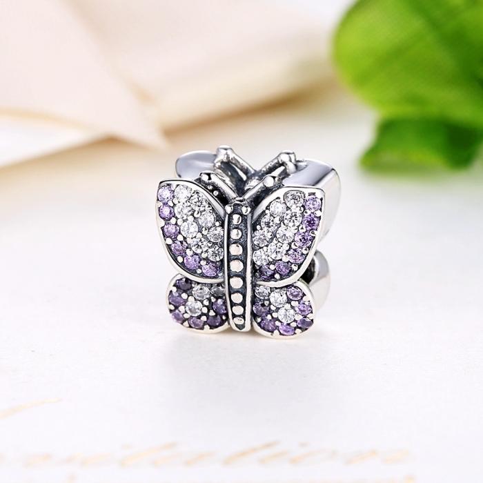 Charm argint 925 fluture cu zirconii albe si mov - Be Nature PST0013 2