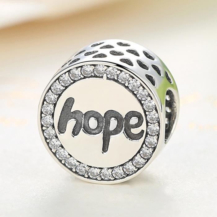 Charm argint 925 Hope-Speranta cu zirconii albe - Be Elegant PST0057 4
