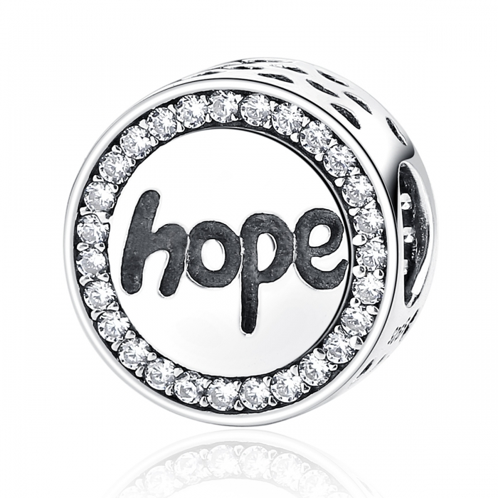 Charm argint 925 Hope-Speranta cu zirconii albe - Be Elegant PST0057 0