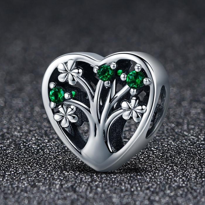 Charm argint 925 inimioara cu copacul vietii - Be in Love PST0105 1