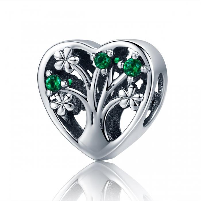 Charm argint 925 inimioara cu copacul vietii - Be in Love PST0105 0