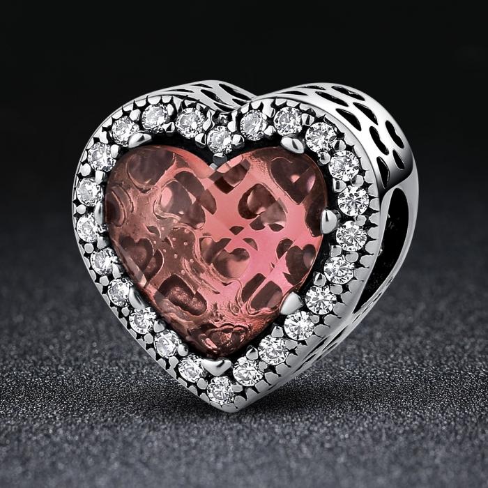 Charm argint 925 inimioara cu cristal maro si zirconii albe - Be in Love PST0045 1