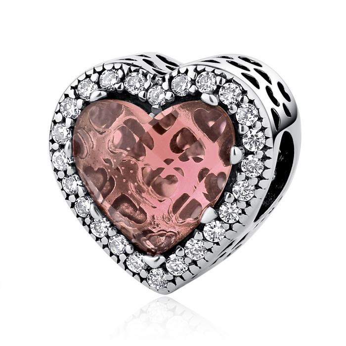 Charm argint 925 inimioara cu cristal maro si zirconii albe - Be in Love PST0045 0