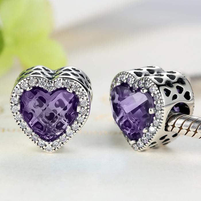 Charm argint 925 inimioara cu cristal mov si zirconii albe - Be in Love PST0046 3