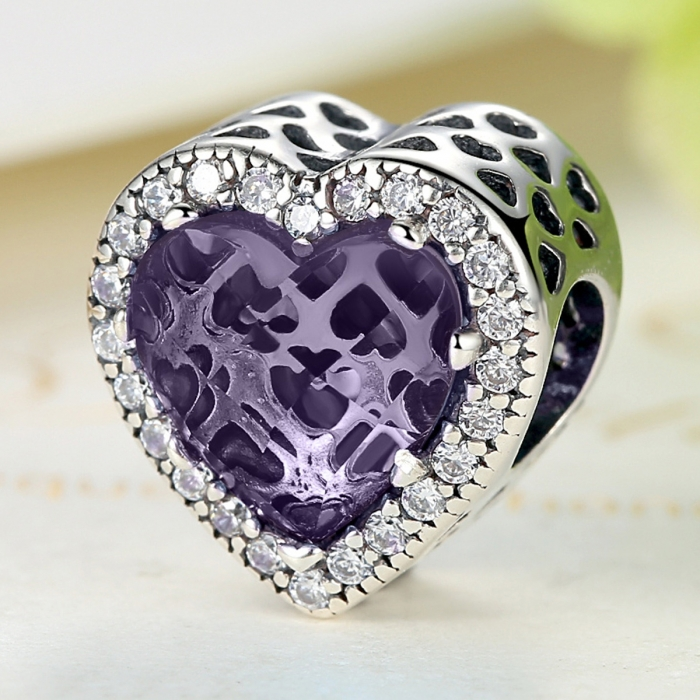 Charm argint 925 inimioara cu cristal mov si zirconii albe - Be in Love PST0046 2