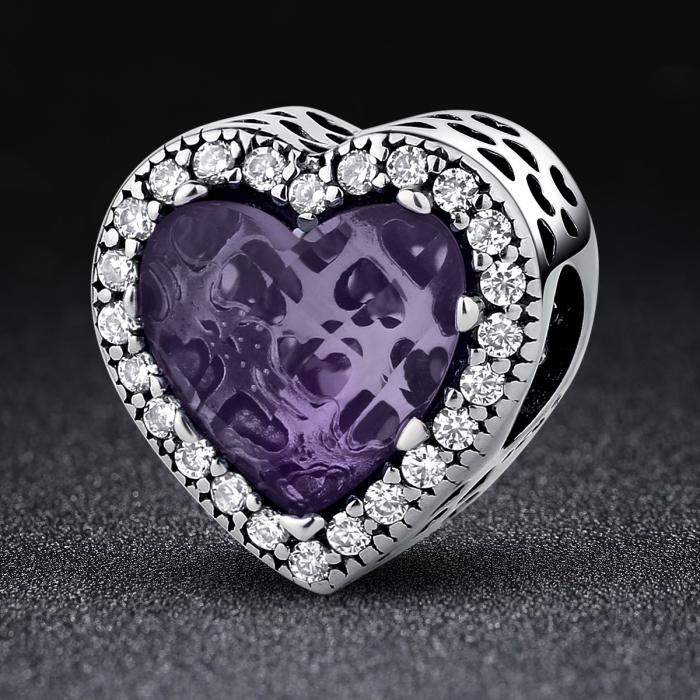 Charm argint 925 inimioara cu cristal mov si zirconii albe - Be in Love PST0046 1