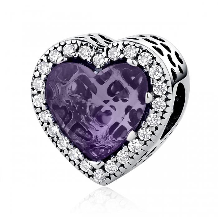 Charm argint 925 inimioara cu cristal mov si zirconii albe - Be in Love PST0046 0