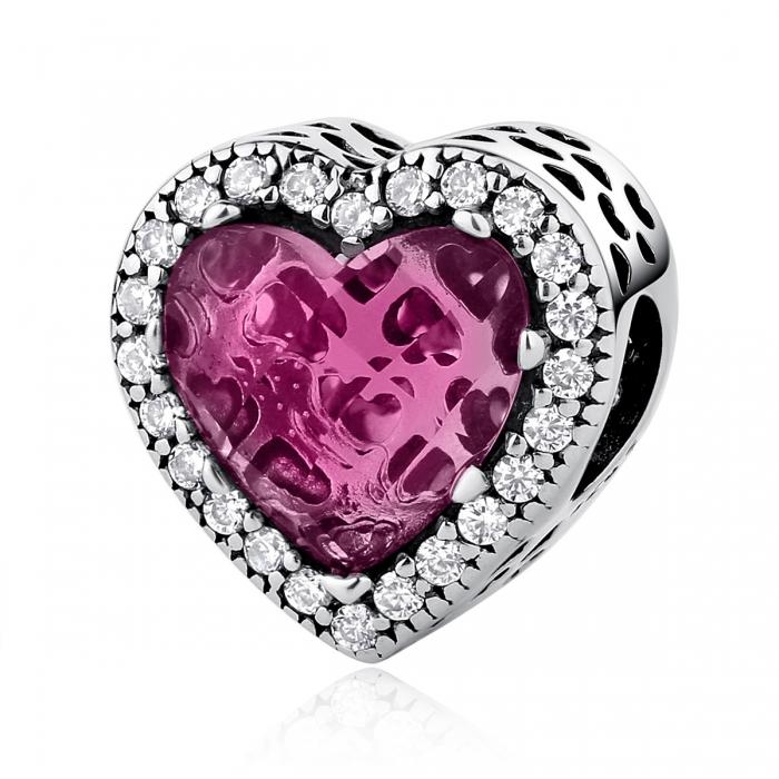 Charm argint 925 inimioara cu cristal roz si zirconii albe - Be in Love PST0044 [0]