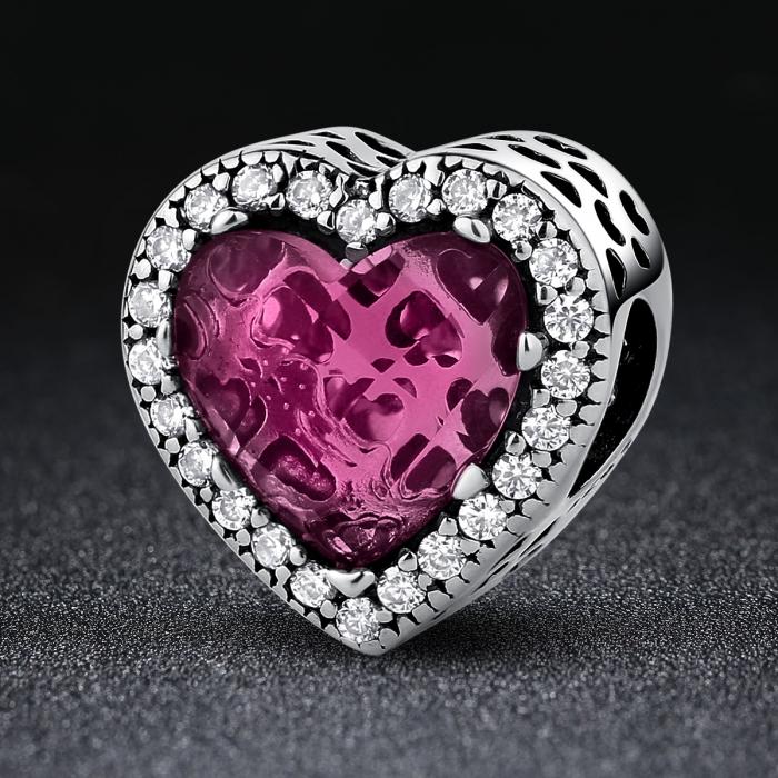 Charm argint 925 inimioara cu cristal roz si zirconii albe - Be in Love PST0044 [1]
