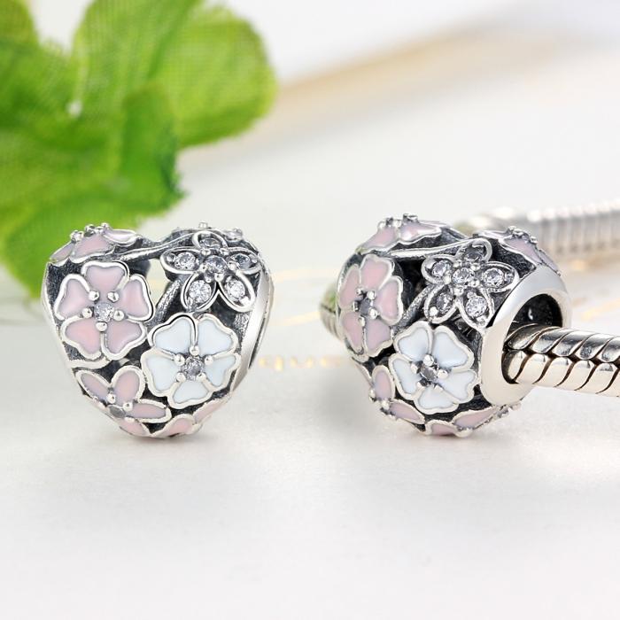 Charm argint 925 inimioara cu flori si zirconii - Be in Love PST0036 1