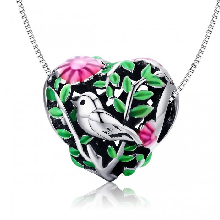 Charm argint 925 inimioara cu floricele si vrabiuta - Be in Love PST0129 6