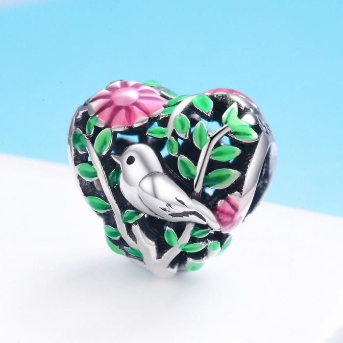 Charm argint 925 inimioara cu floricele si vrabiuta - Be in Love PST0129 2
