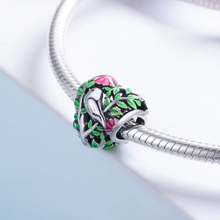 Charm argint 925 inimioara cu floricele si vrabiuta - Be in Love PST0129 3