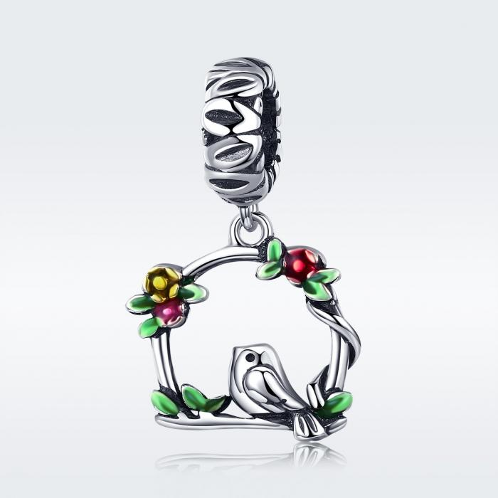 Charm argint 925 inimioara cu floricele si vrabiuta - Be Nature PST0127 6