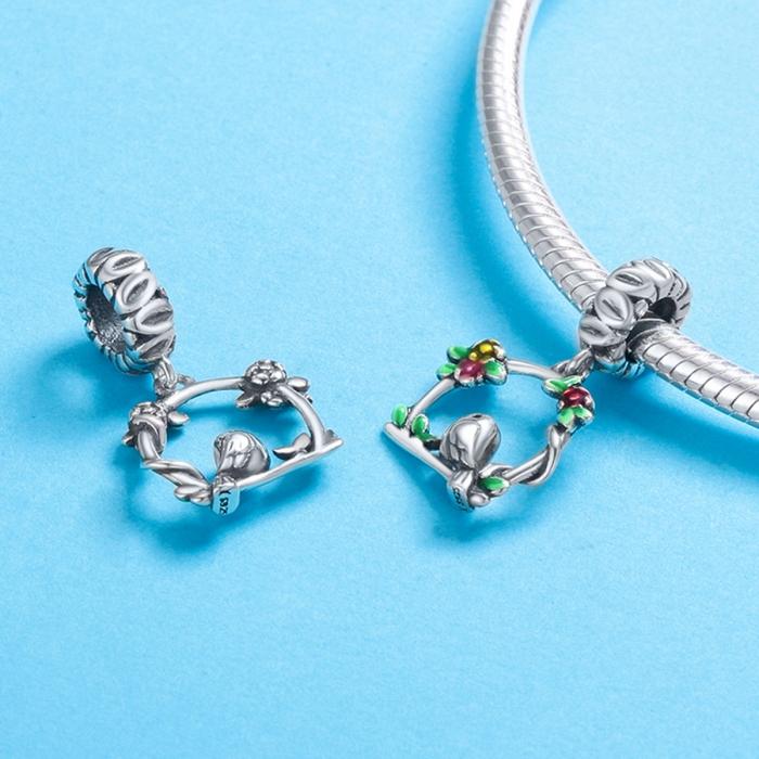 Charm argint 925 inimioara cu floricele si vrabiuta - Be Nature PST0127 4