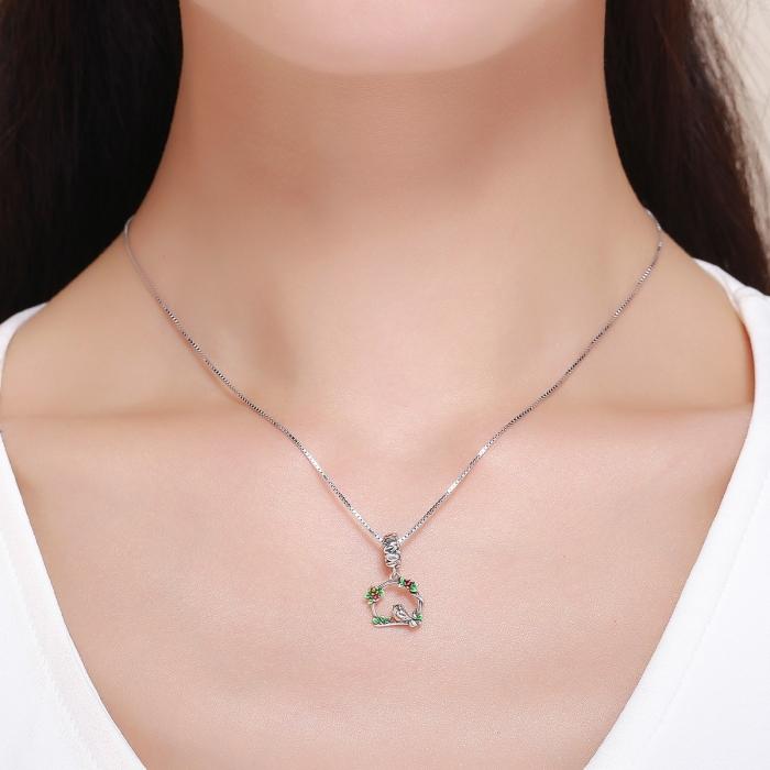 Charm argint 925 inimioara cu floricele si vrabiuta - Be Nature PST0127 5