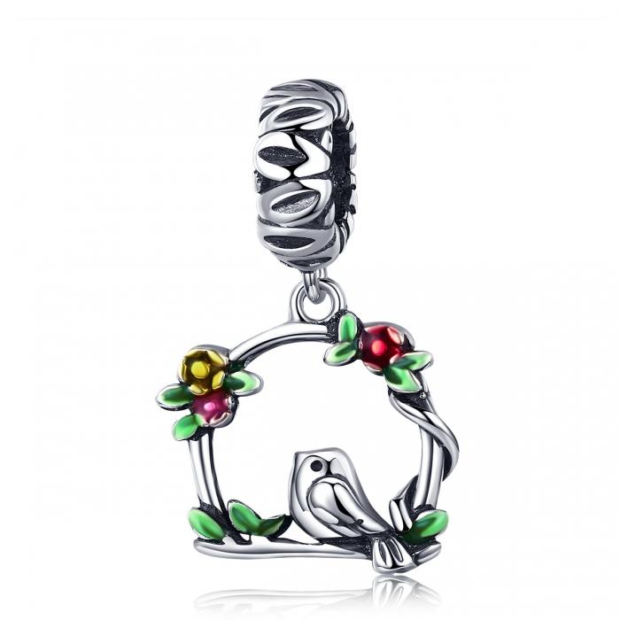 Charm argint 925 inimioara cu floricele si vrabiuta - Be Nature PST0127 0