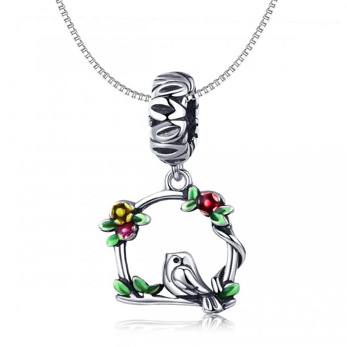 Charm argint 925 inimioara cu floricele si vrabiuta - Be Nature PST0127 2