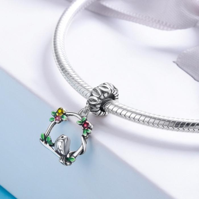 Charm argint 925 inimioara cu floricele si vrabiuta - Be Nature PST0127 1