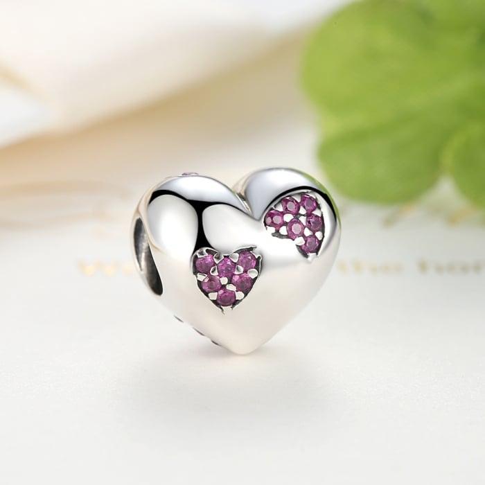 Charm argint 925 inimioara cu zirconii roz - Be in Love PST0054 [4]