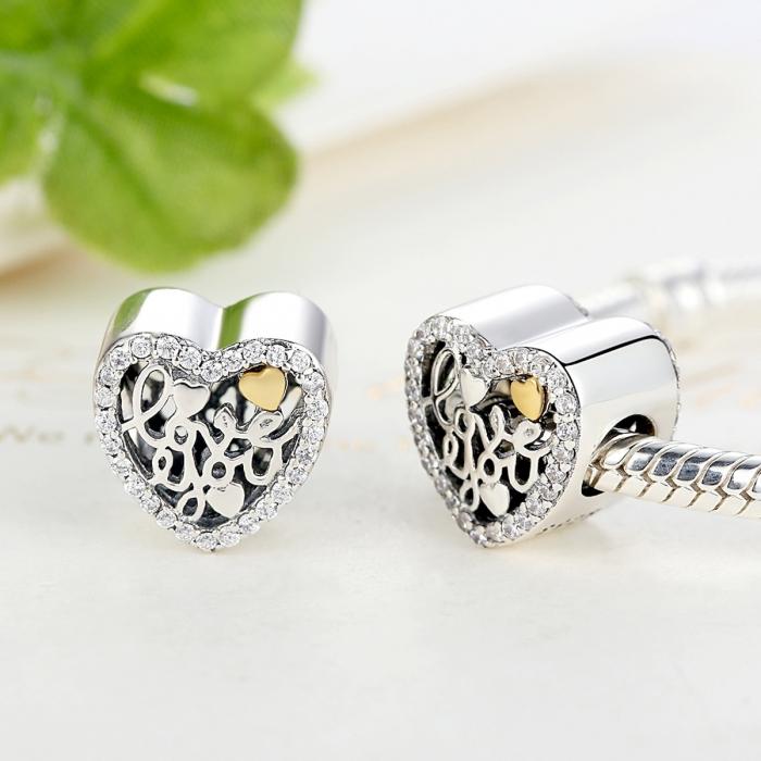 Charm argint 925 inimioara I LOVE YOU - Be in Love PST0048 4