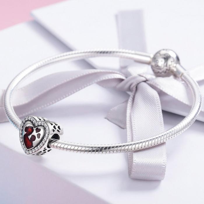 Charm argint 925 inimioara mama si copilul - Be in Love PST0122 2