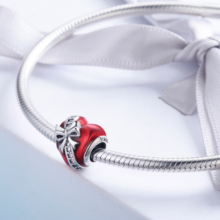 Charm argint 925 inimioara rosie cu fundita si zirconii albe - Be in Love PST0131 [2]